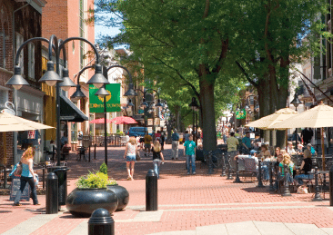 Students in downtown Charlottesville